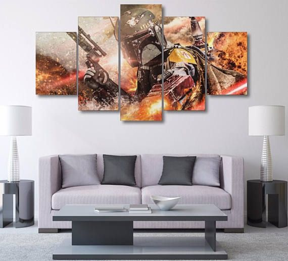 Star wars boba fett canvas print panel dark side comic book home decor bounty hunter wall art inspiration also rh pinterest