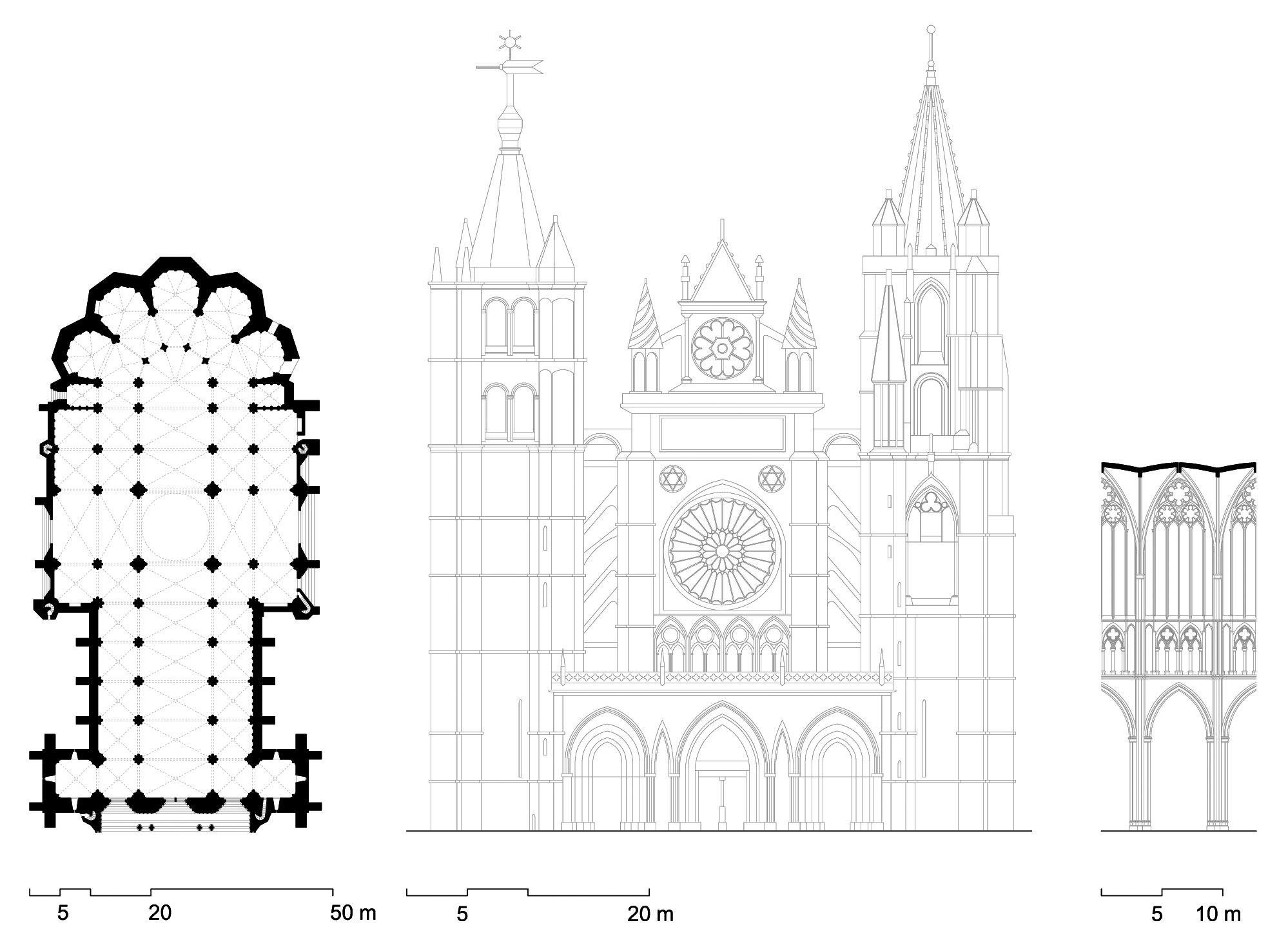 Planta Alzado Y Corte Interior De La Catedral De Leon