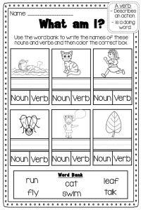 Verbs Printable Worksheet Pack - Kindergarten First Second ...