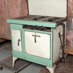 Retro Kitchen Stoves Sears Cabinets Antique 20 39s Green And Cream Enamel Stove Vintage