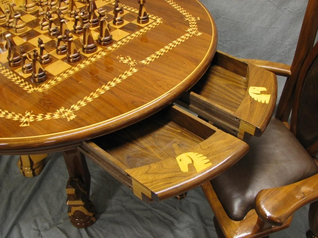 chess table and chairs purple accent sale chair set award winning woodworking