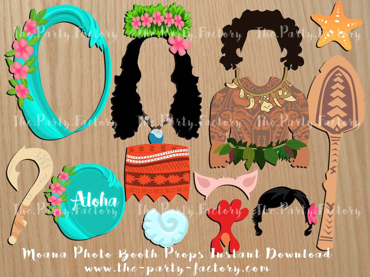 Moana Themed Photo Booth Props Instant Download Digital