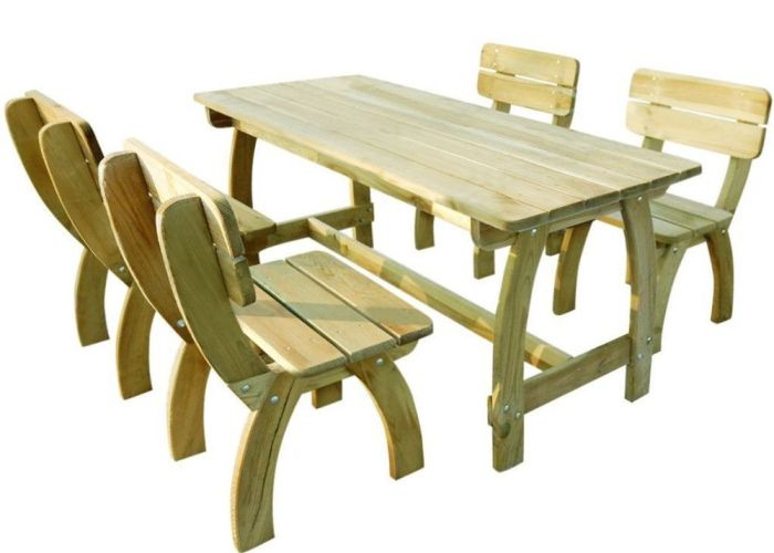 Wooden garden furniture set outdoor patio table and chairs piece seater new also