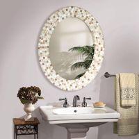 Travertine Mosaic Oval - Bathroom Mirror | Bathroom ...