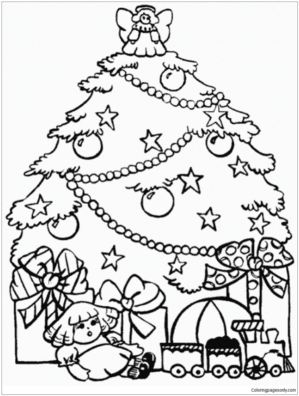 Free Coloring Pages Download Presents And Christmas Tree Page Of