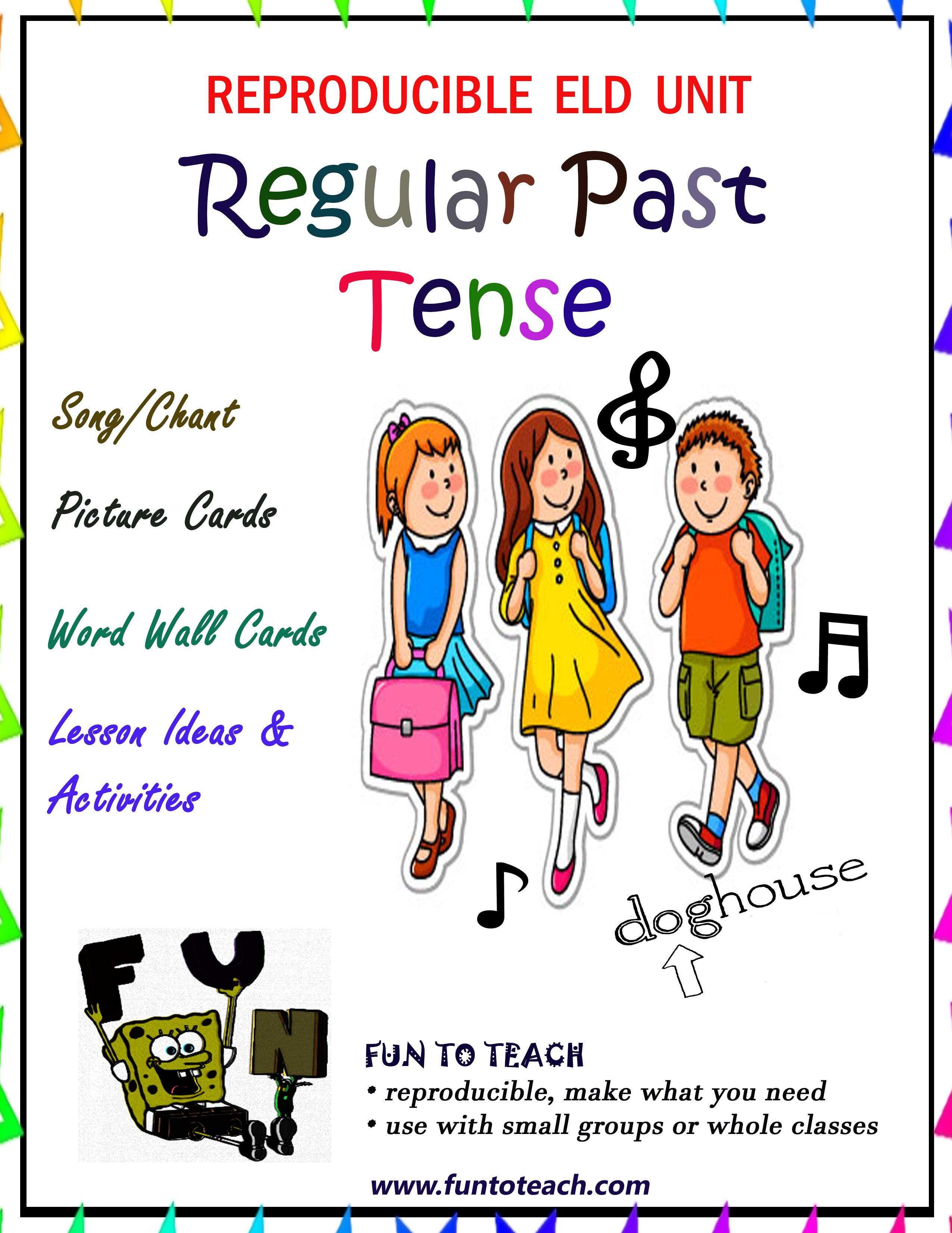 Regular Past Tense Verbs Song And Picture Cards