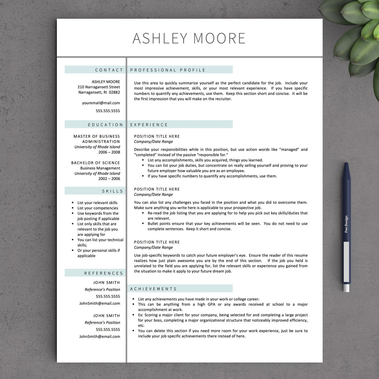 free resume template mac pages