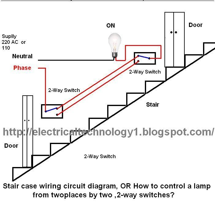 Staircase Wiring Circuit Diagram OR How To Control A Lamp From