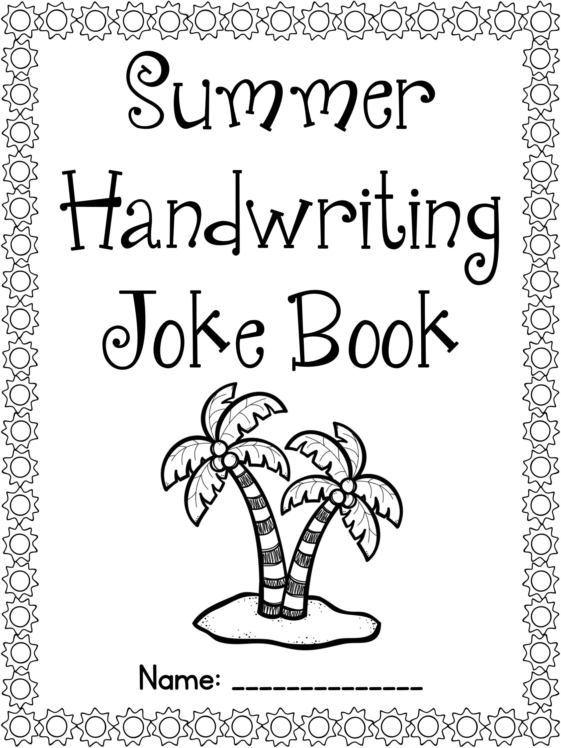 FREE Summer Handwriting Joke Book- cursive & print