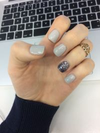 Grey Gelish nails with glitter | Nails | Pinterest ...