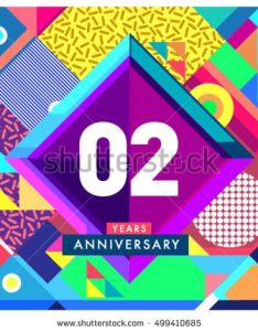 nd years greeting card anniversary with colorful number and frame logo icon memphis also rh za pinterest