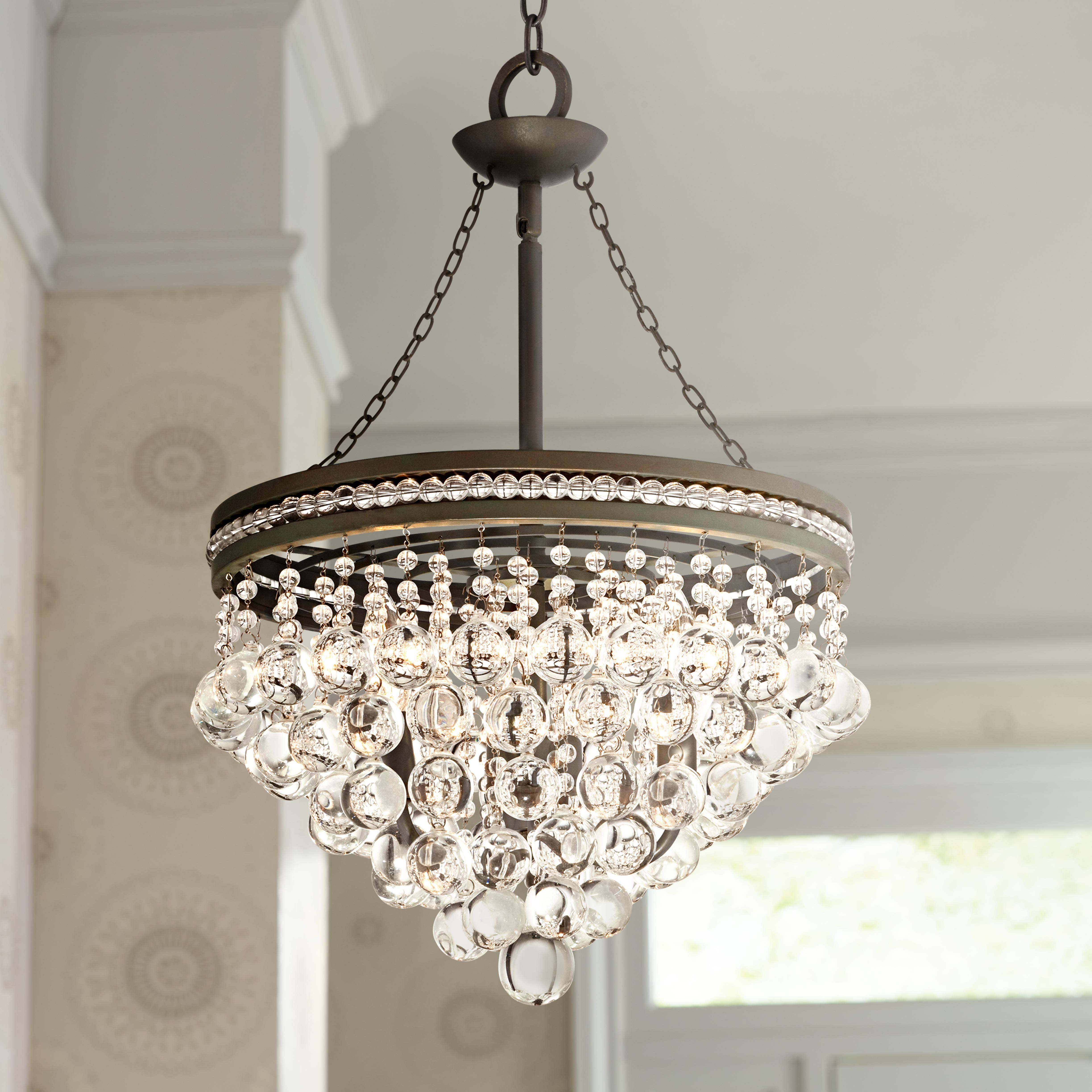bronze kitchen lighting glass top table sets regina olive 19 quot wide crystal chandelier