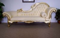 white & gold wedding chaise lounge