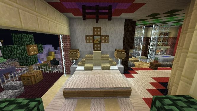 Minecraft Furniture Bedroom A Large Bed With Unique Pillows And Royal Style