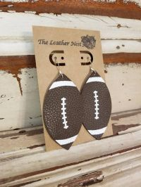 Leather Earrings Leather Jewelry Football Sports Brown