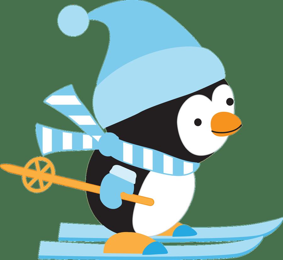Clip Art Of Penguins Sliding On Ice