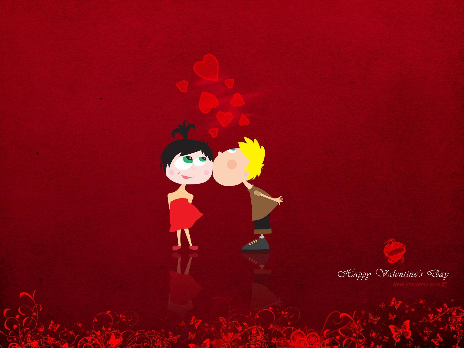 free download valentine day kiss cartoon - valentine day kiss