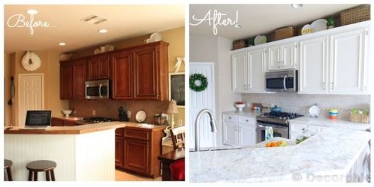 Kitchen Before And After Sherwin Williams Enamel To Paint Cabinets White