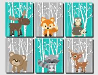 Woodland Nursery, Woodland Wall Decor Kids, Teal, Gray