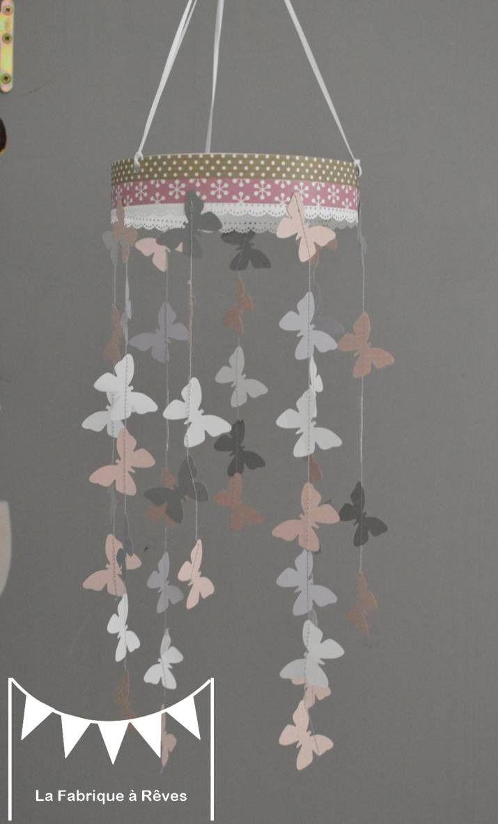Mobile suspension papillons rose poudr gris et blanc  dcoration chambre bb enfant fille