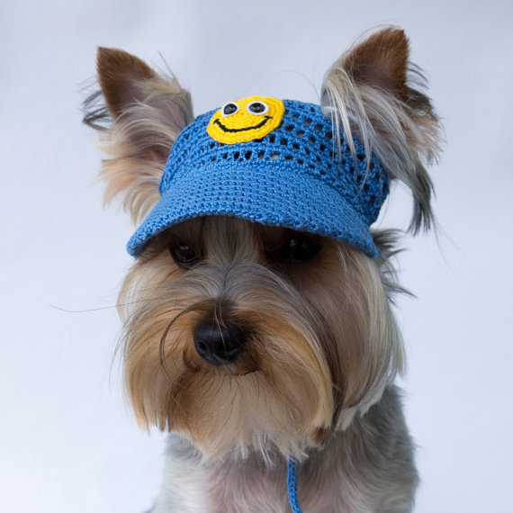 "Dog's Baseball Cap ""Smiley"", Dog Visor, Hats For Small"