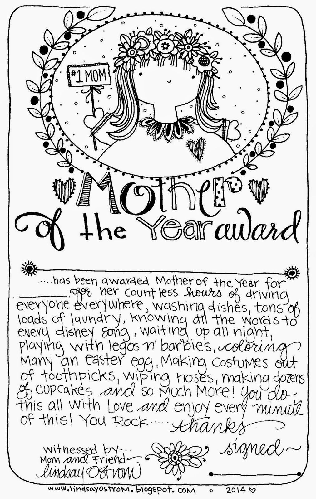 Free printable Mother of the Year Award. Use for a Mother