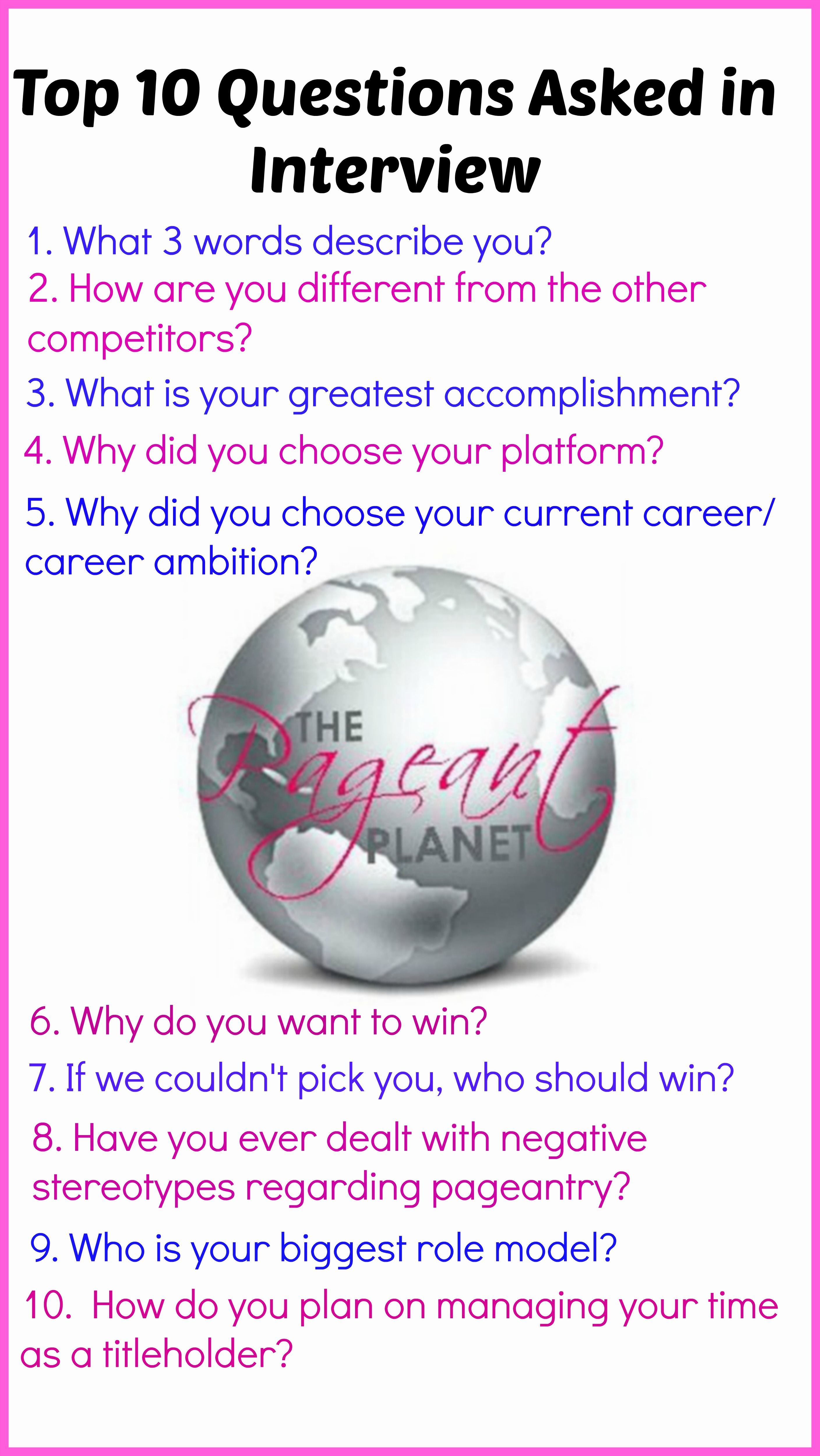 233 Free Practice Pageant Questions Pageant Interview