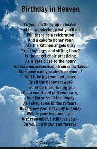 Birthday Wishes Heaven Poem
