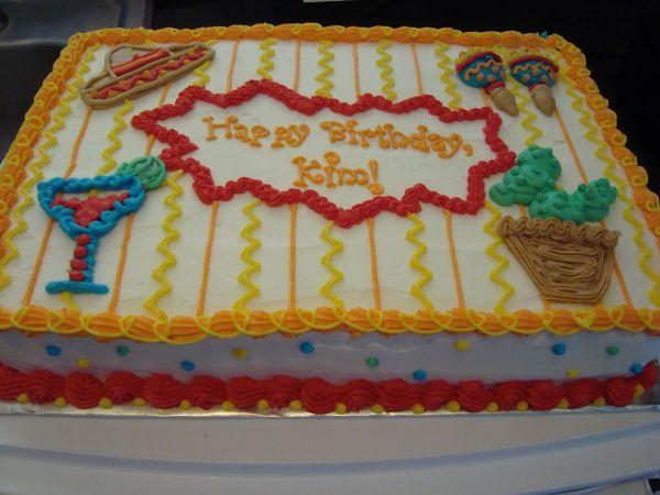 Fiesta Birthday - Buttercream 1 4 Sheet Cake