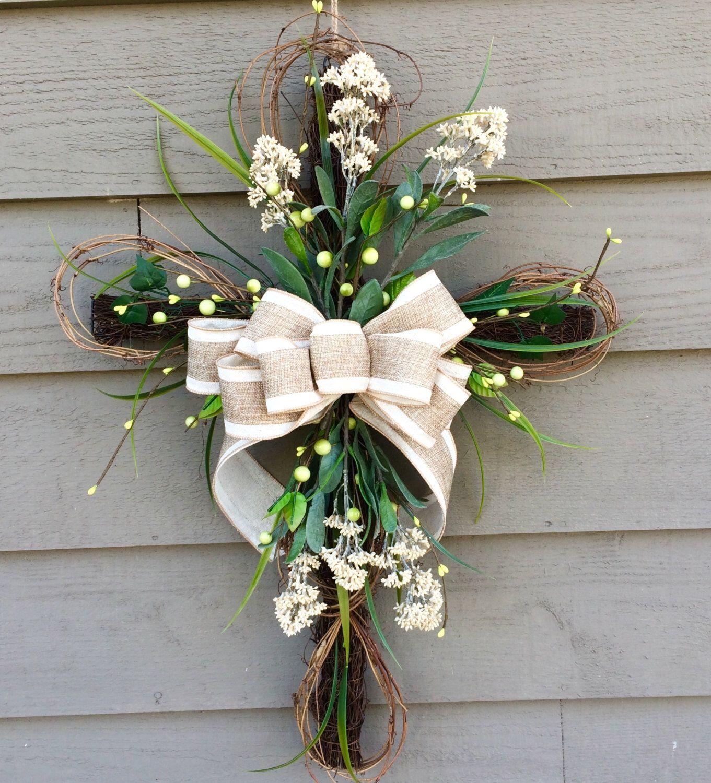 Easter Cross, Floral Cross, Cross Door Hanger, Easter