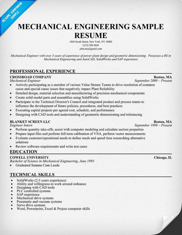 Design Mechanical Engineer Sample Resume Engineer Resume Example