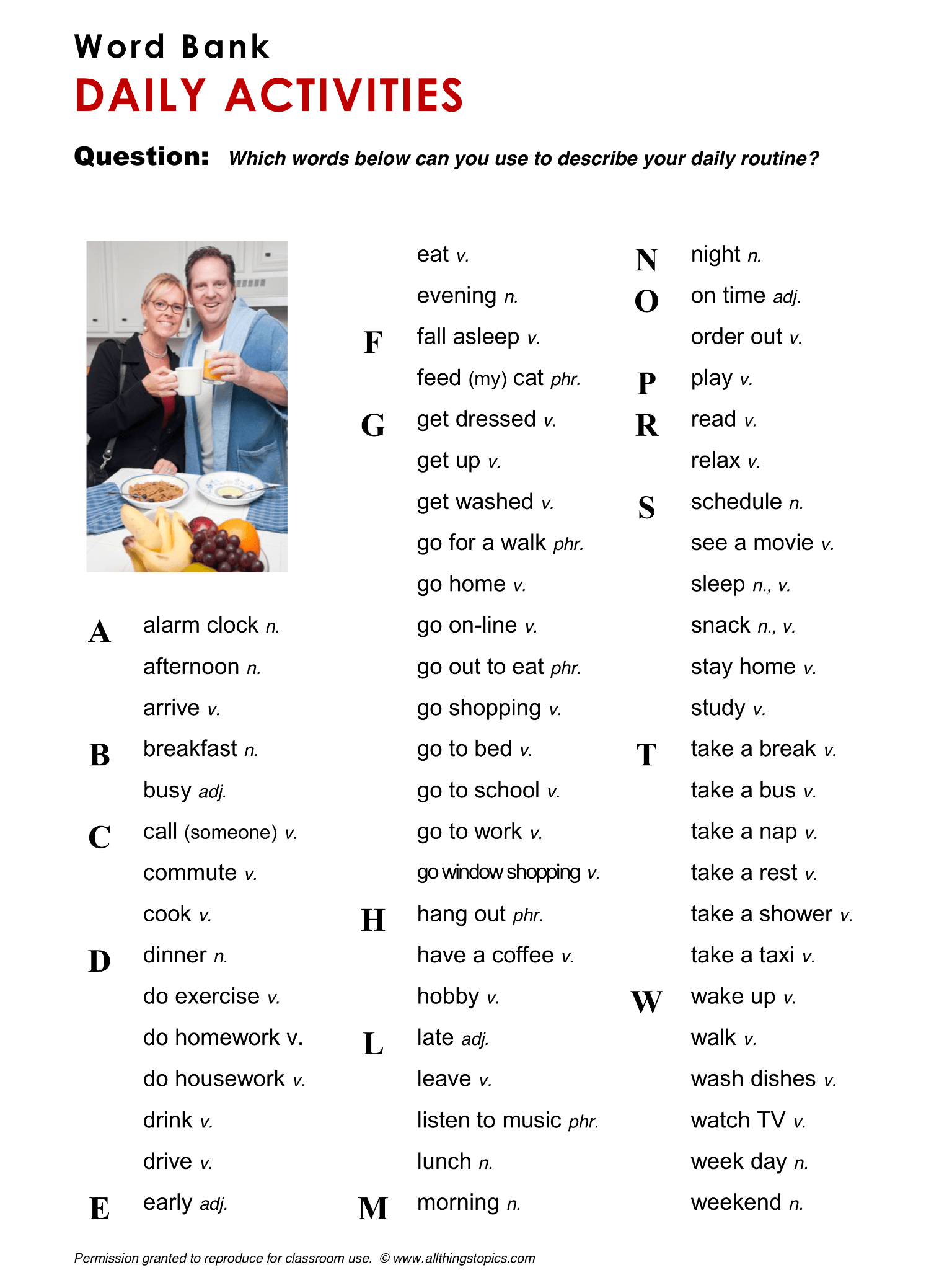 Daily Activities Vocabulary Esl English Phrases