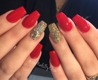 Red and gold acrylic nails. #untouched #nofillter # ...