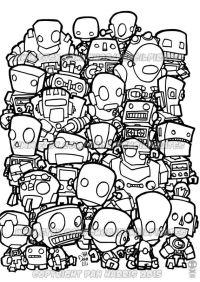 Robot Colouring Page Adult colouring book page by ...