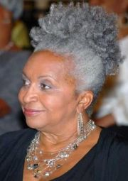 grey hair african american woman
