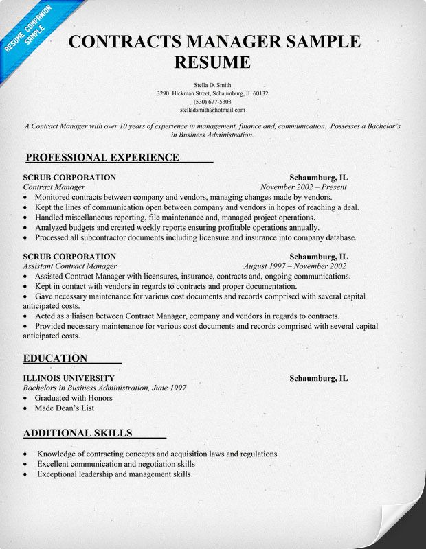 Contract Specialist Resume Example - Examples of Resumes