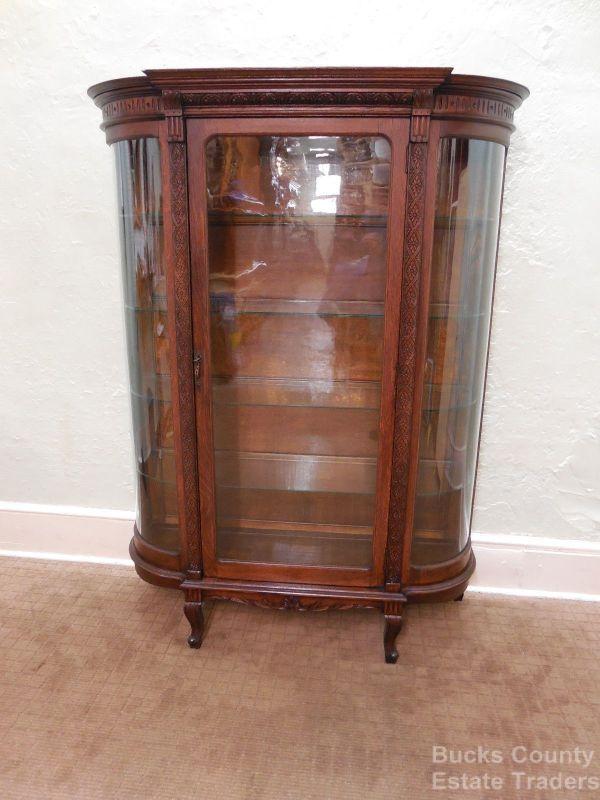Antique Victorian Oak Bowed Glass China Curio Cabinet