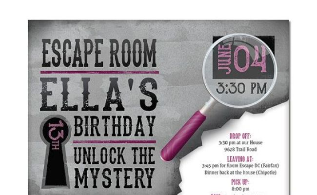 Escape Room Invite Girls Birthday By Dreambigdesignsllc On