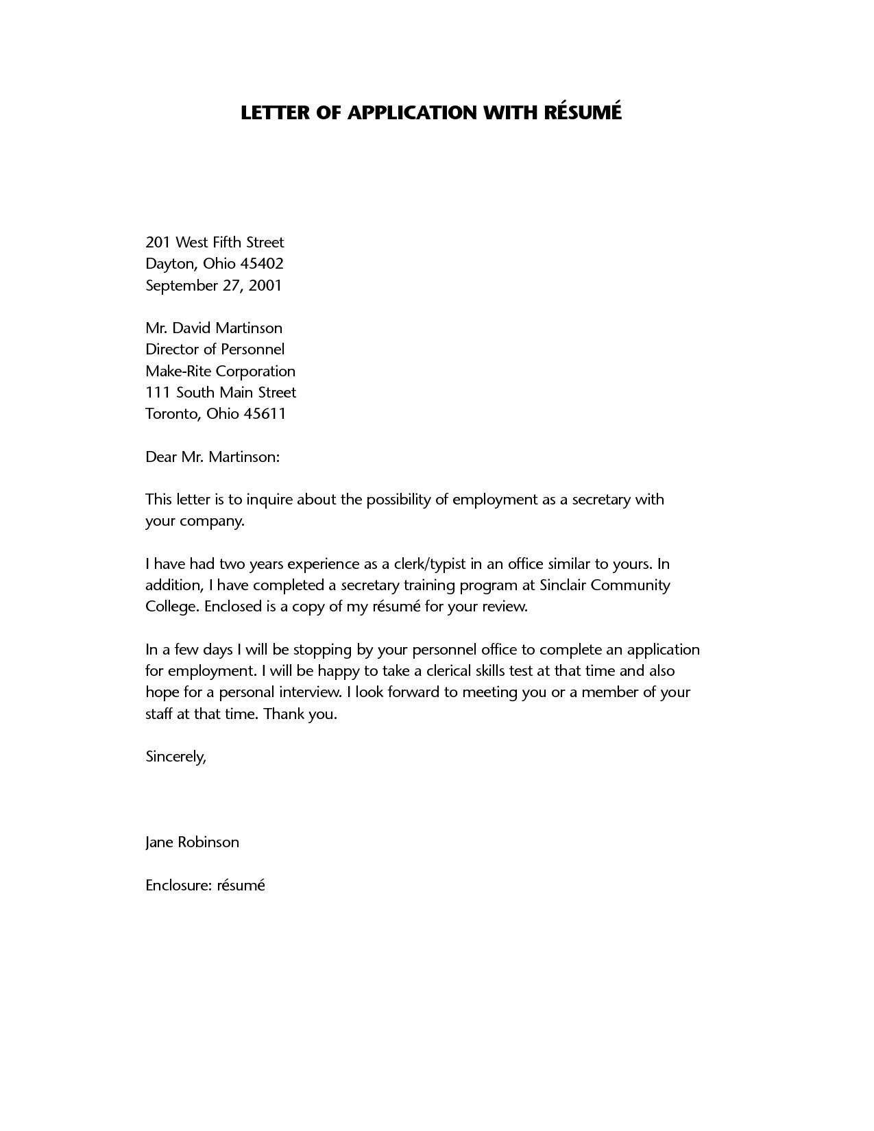 Sample Cover Letter For Resume Resume Application Letter A Letter Of Application Is A