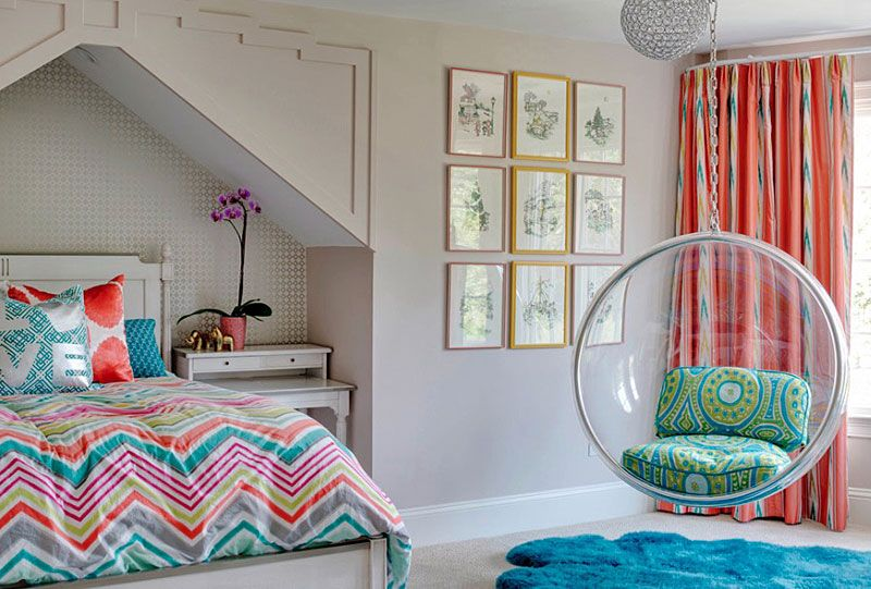 fun room - the hanging bubble chair and fur rug allow for a teen
