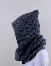 Gray Hooded Scarf Womens Hooded Scarf Chunky Long Scarf ...