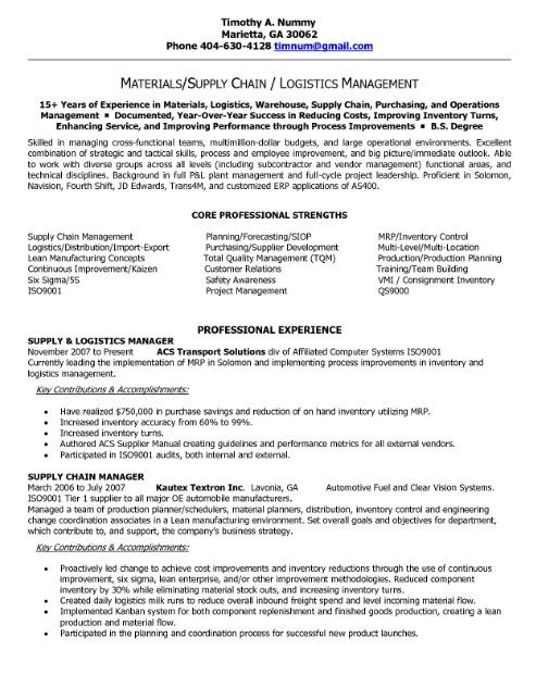 Supply Chain Manager Resume Getresumetemplate Info 3290
