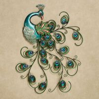 Pretty Peacock Indoor Outdoor Metal Wall Art | Outdoor ...
