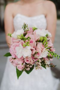 Gorgeous bouquet of pink roses, white freesia, pink wax ...