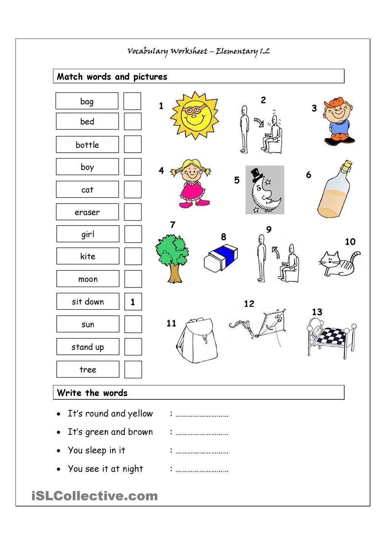 Vocabulary Matching Worksheet Elementary 1 2 Esl Pinterest Worksheets  English Class And Dubai Khalifa