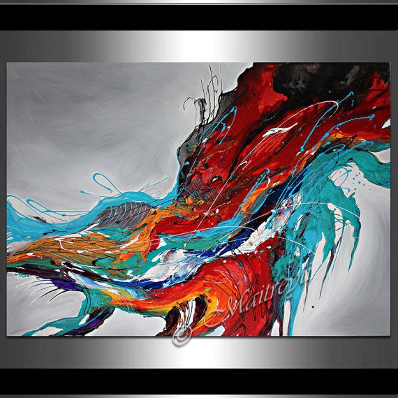 Large abstract painting wall art contemporary oil on canvas hanging also rh pinterest