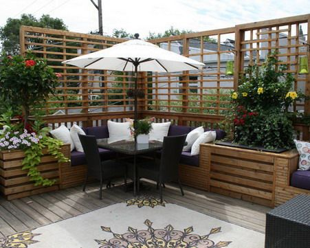Outdoor Patio Design Ideas with Seat Sets in the Corner