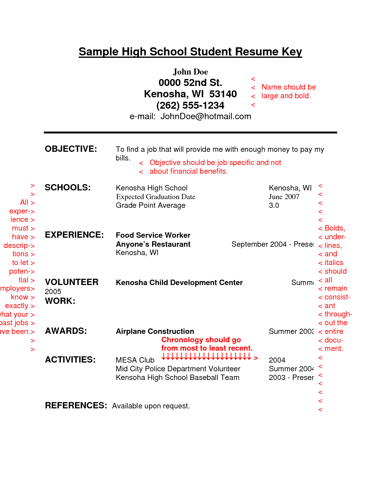 Resume Sample For College Student Resume Sample For High School Students With No Experience