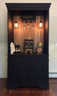 Upcycled / repurposed armoire converted into a dry bar