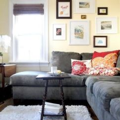 Living Room Ideas With Dark Grey Sofas Rooms To Go Sleeper Sofa Reviews Gray Couch, Floors, Light Rug, Walls, Red And ...